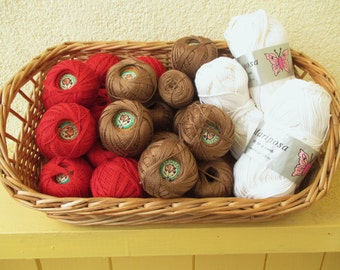 Box of Vintage Crocheting Yarn - Cranberry red Brown White 635 g