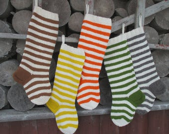 NEW 2017! Christmas Stocking Personalized Wool Knit Striped stockings Christmas decoration Yellow Orange Brown Green Grey White