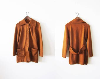 Vintage Cardigan / Womans Knit Cardigan Jacket / 70s Jacket / Copper Brown 1970s Long Cardigan Small Medium
