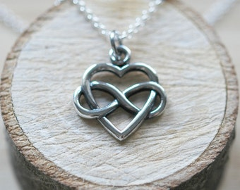 Infinity heart necklace, sterling silver heart pendant, eternity heart, entwined, symbolic, romantic gift, simple jewelry, forever