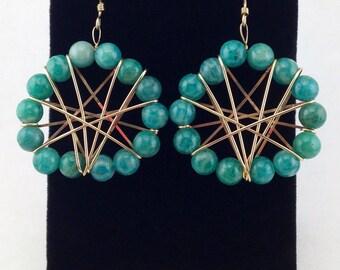 Green gemstone earrings,statement earrings,fashion  earrings,gold earrings,large beaded earrings,wire wrapped earrings,turquoise boho