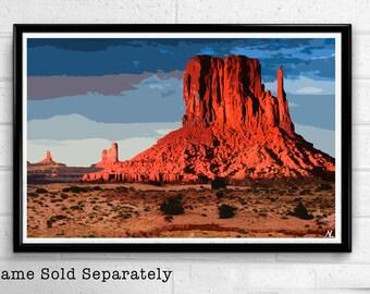 Monument Valley Pop Art Print Desert Poster Arizona Landscape Navajo Red Rocks American Art United States Fine Art Travel Home Decor Canvas