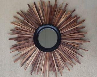 XL Natural Walnut Reclaimed Wood Sunburst Mirror, Black Mirror, sunburst, READY to SHIP