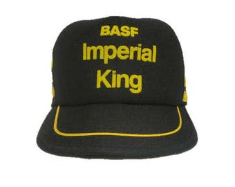 Vintage BASF Imperial King snapback style Trucker Hat - Black and Yellow - Three Stripe snap back