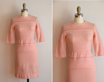 50s Kiss Powder dress/ vintage 1950s wool wiggle dress / bombshell pink fitted dress