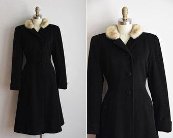 40s Vogue Noir coat / vintage 1940s princess coat/ vintage 40s black wool coat