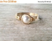Valentines Day Sale Pearl Ring, 14k Gold Filled Wire Wrapped Pearl Ring, Gold Filled Ring