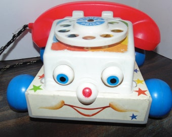 Vintage 1985 FISHER PRICE Chatter Phone #747 Eyes move Makes Sounds Telephone Retro Rotary 80s