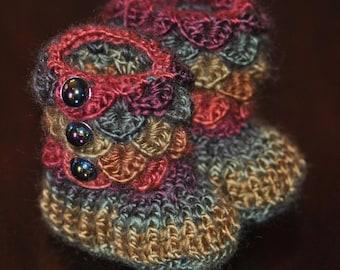 Crochet Baby Booties ~ Rainbow Booties Little Girl 0-6 Months ~ Crocodile Stitch Booties ~ OOAK