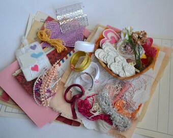Girly Journal Making Kit,  Pink Journal Kit, Crafting Kit
