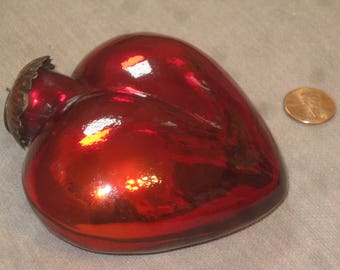 Blown Glass Heart , Vintage Ornaments , Glass Heart , Love Gift . Bauble Blown Glass Heart , Valentine's Day