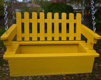Sunny Yellow Swing Style Planter of 100% Cedar (Handcrafted),