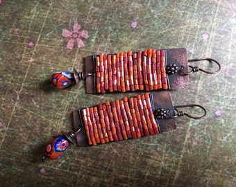 Rustic wrapped orange and pink artisan handmade tribal earrings n103 - wire wrapped . solid copper . vintage millefiori beads . solid copper