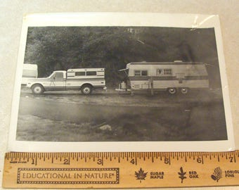 Old B&W Photo of a 1960's 1970's Chevy Camper Special, Aluminum Shell and Camping Trailer, Probably When New!