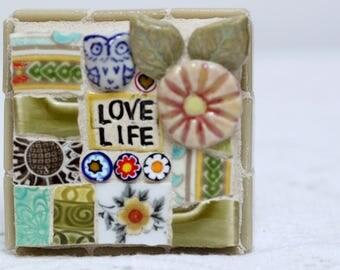 LOVE LIFE, OWL mosaic art, mosaic, owl