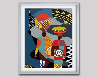"""African Art Print,  African Abstract Painting, African Woman Art, Messengers of Hope Poster Print - 8""""X 10"""""""