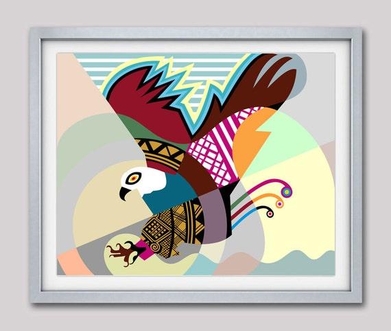 Bald Eagle Painting, Eagle Print, American Eagle,  Eagle Poster, Bird Art Print, Bird Painting, Bird Decor, Bird Artwork