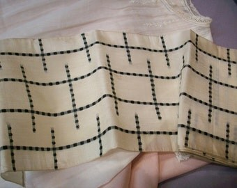 Rare silk black/white design ribbon 5 1/4""