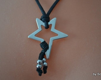 Leather necklace with stainless steel pendant