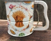 Flour Sifter Vintage Enameled Wheat and Pastry Themed Androck Hand-I-Sift