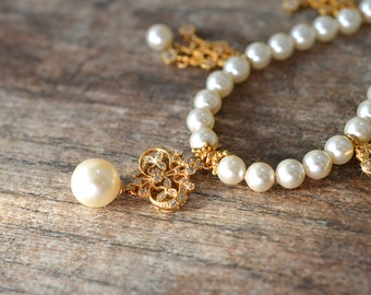 Ivory pearl necklace Fancy drop necklace Gold filigree with cubic zirconia dangle necklace Special occasion formal wedding jewelry heirloom