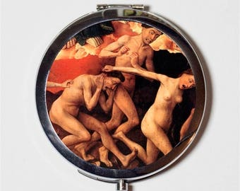 Fine Art Goth Compact Mirror - Deathly Horrors Painting - Make Up Pocket Mirror for Cosmetics