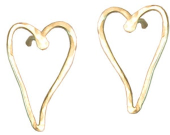 Long Post Heart Earrings, 14k gold filled, sterling silver, 14k rose gold filled