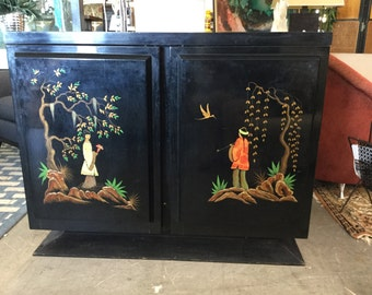Hollywood Regency Chinoiserie Bar Cabinet on Sale