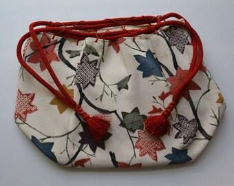 Drawstring handbag, 'kinchaku' purse,  Japanese chirimen silk crepe