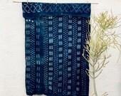 Vintage African Indigo Throw with Gold, Indigo fabric Hand dyed indigo textile African Indigo mudcloth Indigo Cloth Indigo Blanket #59