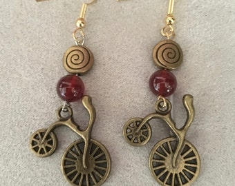 Retro Antiqued Bicycle Earrings, Red and Bronze, dangle