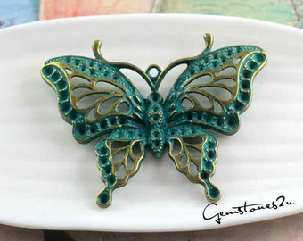 5pcs 48x60mm Butterfly Charms -Antique Bronze Rustic Patina Butterfly Charm Pendant, Green Patina Butterfly Charms, DIY Supplies