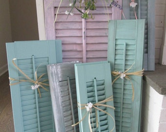 1 pair of blue  beach shutters, painted wooden sea side shutters, summer cottage  blue shutters, shabby chic cottage shutters,hand painted
