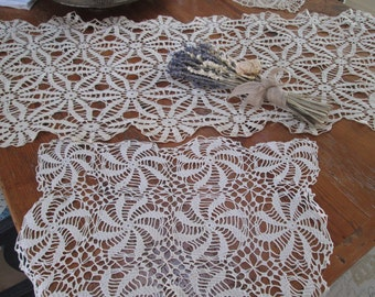 vintage cream crochet table runner and doilie, cottage set of 2 shabby chic antique lace crochet pieces,delicate handmade linens by herminas