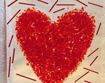 LOVE HEART VALENTINE Red NightLight Fused Glass H20