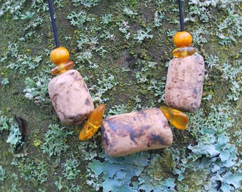 Minimalist Terracotta Amber Unisex Necklace, Nature Eco Friendly Boho Hippie Necklace, Clay Ceramic Rustic Bib Pendant, For Him Her