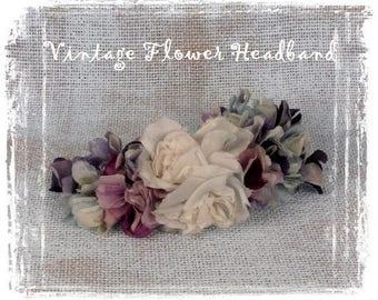 Vintage Flowers Headband, Silk Flowers, Vintage Hair Accessories, Silk Flower Hat Decor, Purple, Millinery Flowers, Wedding