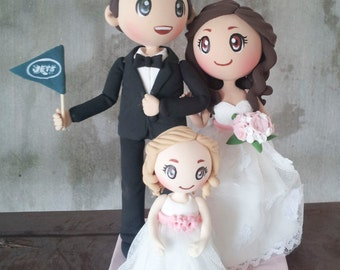 wedding cake toppers bride groom daughter cake topper etsy 26425