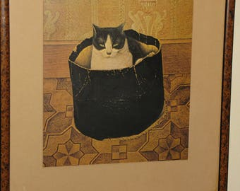 Charming Antique Framed Print - Cat in Hatbox -19th Century Avant Garde Artist S. Meijea - 1909  Original Tortoiseshell Frame