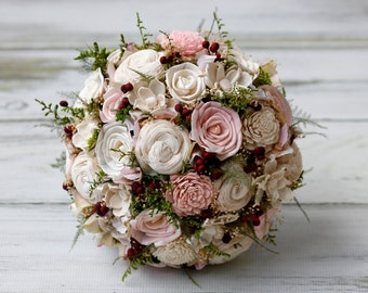 Pink Sola Bouquet,Cranberry Bouquet,Large sola Bouquet,Burgundy sola flowers,tallow berries,woodland wedding,destination wedding