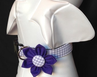Dog Collar Flower Set - Lavender Gingham  - Size XS, S, M, L, XL