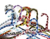 set of 10 vintage yarn covered grandma hangers, crocheted, colorful non slip hangers