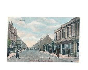 vintage Scottish postcard, street view Grangemouth, Scotland, 1912