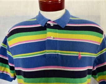 vintage 90's Polo by Ralph Lauren blue pastel rainbow horizontal stripe pique knit polo shirt color block yellow green white pink pony Large
