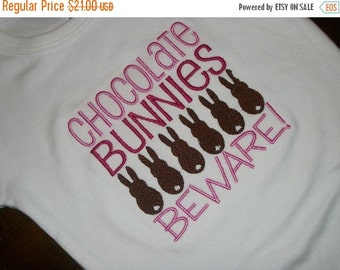 20% OFF Entire Shop CHOCOLATE BUNNIES Beware Custom made embroidered, t shirts, one piece w/snaps, boys, girls, long or short sleeve. bows,