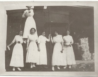 Old Photo Group of Women wearing Long White Dresses 1910s Photograph Snapshot vintage
