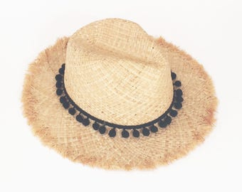 SALE 50% OFF, Summer straw hat with black pompom band , unraveled fedora sun hat , beach hat , straw hat , women straw hat ,fashionable hat