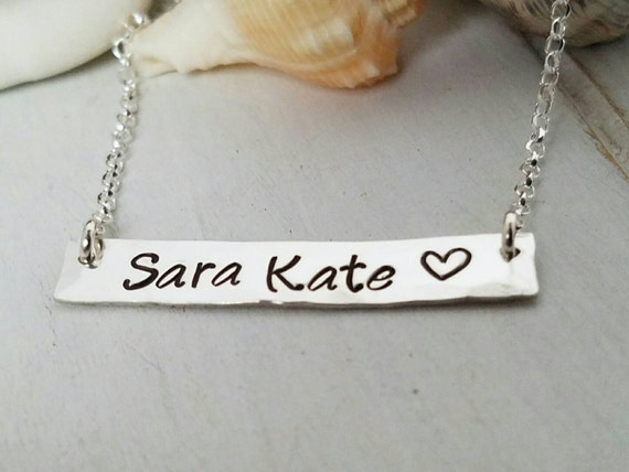 Sterling bar necklace, Sterling silver name bar,  Mothers name necklace, Personalized Mother necklace, Custom name bar, Personalized bar