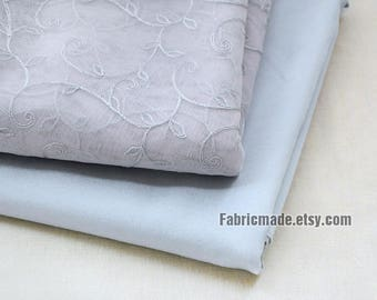 Grey Gray Netting Lace Fabric Embroidery Flower Tulle Lace Fabric Grey Lining Fabric- 1/2 yard