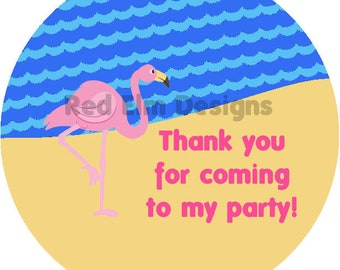 "Flamingo Stickers - Sheet of 20 - 2"" Round.  Flamingo Birthday Party Favors.  2 Inch Round Flamingo Beach Stickers"